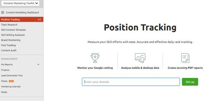 SEMrush Position Tracking Tool