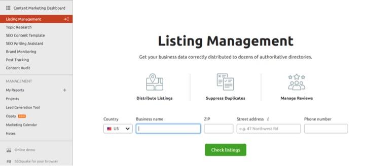 SEMrush SEO Tool Local Listing Management